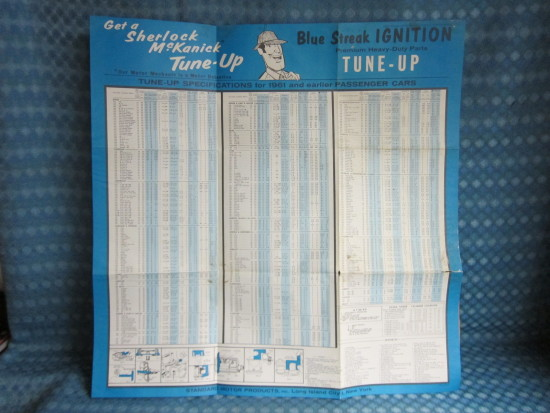 1953-61 Blue Streak Original Tune Up Chart / Poster Chevy Ford Dodge Rambler