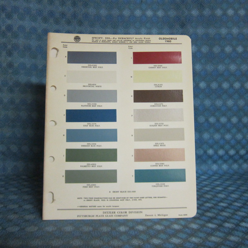1960 Oldsmobile Original Ditzler Paint Color Chip Chart
