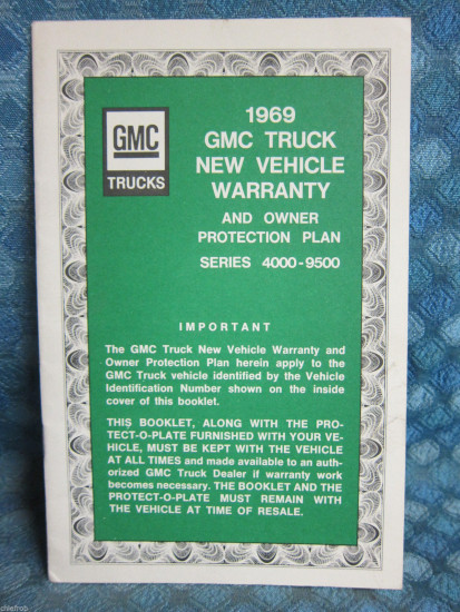 1969 GMC Truck NOS Warranty Booklet Medium & Heavy Duty Models 4000-9500
