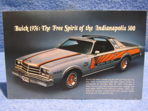 1976 Buick Century Custom Indy Pace Car Photo Card NOS