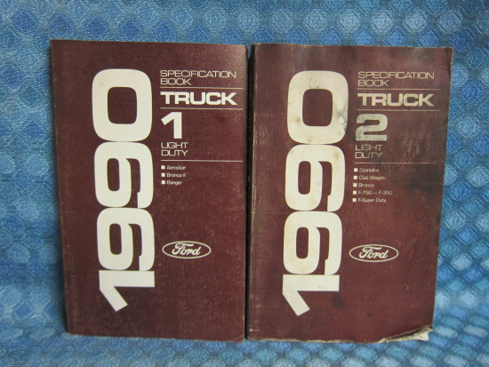 1990 Ford Light Duty Truck Original Specification Book 2 Volume Set F-150 F-250