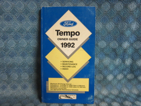 1992 Ford Tempo Original Owners Manual