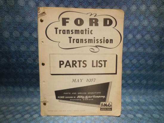 1957 Ford Truck Original Transmatic Transmission Parts List
