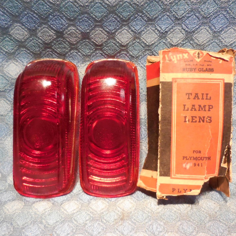 1941 Plymouth Pair of NORS Tail Light Lamp Lens, Glass Lynx-Eye