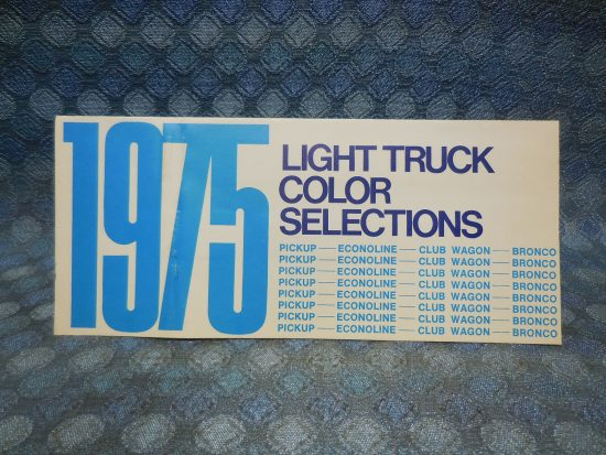 1975 Ford Light Truck Original Exterior Color Selections Folder Pickup Bronco